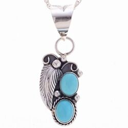 Navajo Robins Egg Blue Two Stone Turquoise Pendant By Tom Ahasteen