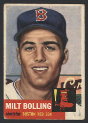 1953 Topps 280 Milt Bolling High Short Print Rookie Card Red Sox