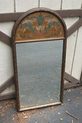 Antique Mirror Art Deco W Hand Painting Early 20th Cent. Bucks County Pa. Estate