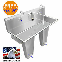 Hand Sink 2 Station 42 Single Pedal Valve Hands Free Stainless Stl. Made In Usa