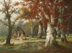 Oil Painting Autumn Landscape Farmer's House In Forest And Cocks Hens Canvas 36