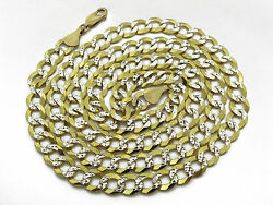 Solid Cuban 6mm Light Weight Pave Cut Chain 26 Inches Approx. Gold Wt. 42.64gms