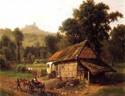 Dream-art Oil Painting In The Foothills Landscape And Farmer's House Carriage 36