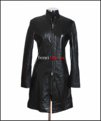 Carrie Ladies Black Smart Long Real Soft Lambskin Nappa Leather Military Jacket