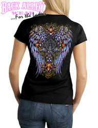 Western WINGS w Cross LADIES JUNIORS FIT T SHIRT S 3XL CREW Neck Cowgirl $13.95
