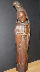 Rare Antique Chinese Carved Bamboo Wood Wooden Guan Yin China Carving Statue