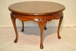 Antique Queen Ann Style Round Mahogany Coffee Table, C. 1920's