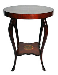Empire Art Nouveau Style Mahogany Round Side Table Gold Painted Acanthus Leaves