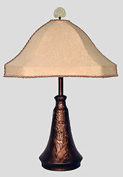 Arts And Crafts Art Nouveau Hammered Copper Table Lamp With Flowers And Custom Shade
