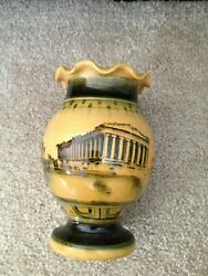Rare Vintage Vase Hand Made In Greece Painted Vase Rome Parthenon And Stamped