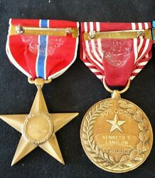 Bronze Star Medal Group Good Conduct American European Victory. Langlow