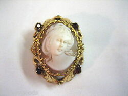 Vintage Estate 14k Yellow Gold And Ruby Red Stone Shell Cameo Brooch Pin Pendant