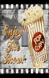 Light Switch Plate Switchplate And Outlet Covers Movie Room Enjoy The Show Popcorn