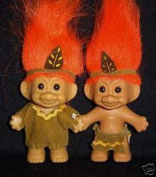 Native American Boy And Girl Russ Troll Doll 3 Indian Hard To Find New In Bags
