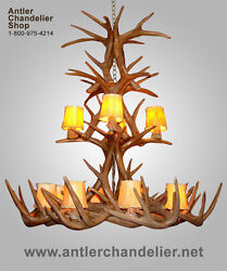 Reproduction Antler Xxl Whitetail Cascade Chandelier, 12 Lights, Lamps, Crl-26