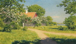 Fine Oil Painting Breath Of Spring Farmer's House With Cocks In Landscape Canvas