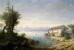 Free Shipping Oil Painting Beautiful Landscape Farmer House By River And Canoe
