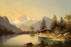 Exquisite Oil Painting Farmer's House By The River In Sundown Landscape Canvas