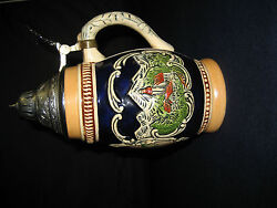 Porcelain Stein With Silver Top Depicting Salzburg Austria Germany Beautiful