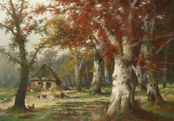 Great Oil Painting Nice Autumn Forest Landscape With Poultry Before Farmer House