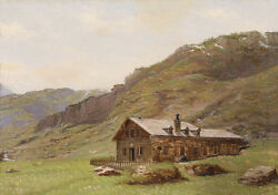 Fine Oil Painting Farmer's House At The Foot Of The Mountains Landscape Canvas