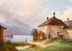 Large Oil Painting Farmer's House In Summer Landscape By The River On Canvas