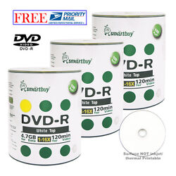 300-pack Smartbuy White Top Surface Blank Dvd-r Dvdr 16x 4.7gb Recordable Disc