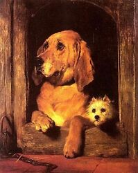 Wonderful Oil Painting Lovely Animals Dogs By The Window - Dignity And Impudence