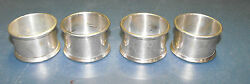 Vintage Lot 4 Solid 1950and039s Gorham Sterling Silver Napkin Rings W10 Excellant