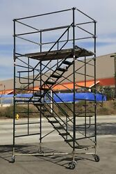 Scaffold Stairway Case Rolling Tower 5' X 7' X 11'7 To 12' 7 Deck High Cbm1290