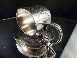 Meriden And Co. Victorian Silver Plate Lily Pad And Blossom Engraved Napkin Ring