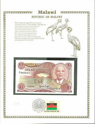 K 1 Kwacha Malawi Banknote World Currency Collection Paper Money Unc Stamp Mint