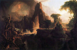 Oil Painting Thomas Cole - Expulsion From The Garden Of Eden Wonderful Landscape