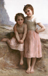 Dream-art Oil Painting Bouguereau - Young Girls Sisters On The Rocky Beach 36
