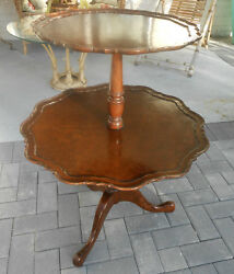 Antique Chippendale/queen Anne Style Mahogany And Burl Tea Table Dumbwaiter A++