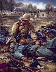 Nathan Greene For I Was Thirsty Civil War Confederate Art Large 30x40 S/n Canvas