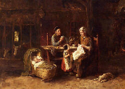 Classic Art Oil Painting Tea Time - Happy Family Parents And Kids Sleeping Dog