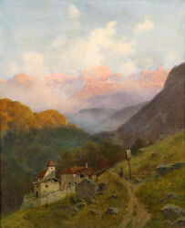 Nice Oil Painting Farmer's House In Sunset Landscape On The Mountains No Framed