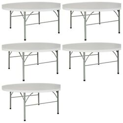 5 Pack 72and039and039 Round Bi Fold Granite White Plastic Folding Table - Banquet Tables