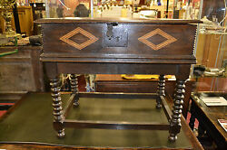 Fine Quality Antique 18th Century Oak Bible Box With Inlay On Later Stand C1760