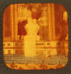 Stereoview Tissue Of French Palace Parlor W/ Statues -vintage Original