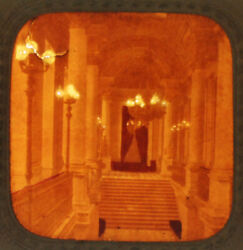 Stereoview Tissue Of French Palace Stairwell -vintage Original