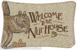 Decorative Pillows - Welcome To The Nut House Throw Pillow - Squirrel Pillow
