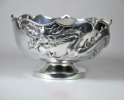 Antique Chinese Export Solid Silver Dragon Rose Bowl Sing Fat China 1900