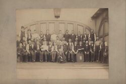 Vintage Photo Of Large Group Of Men W/ Ledger Book, Straw Hats, Bamboo Canes