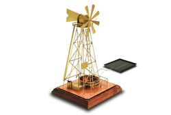 Solarts Solar Powered Windmill-executive Gift Made Of Copper/brass/oak W-2