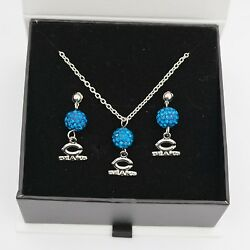 Chicago Bears Jewelry Shamballa Bead Crystal Necklace And Earrings Set
