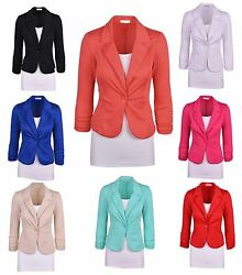 Aulinandeacute Collection Womenand039s Casual Work Solid Color Knit Blazer