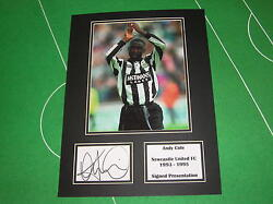Andy Cole Signed Newcastle United Fc Press Photograph Presentation Mount