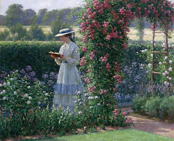 Oil Painting Portraits Nice Young Girl Reading Book In Spring Landscape And Flower